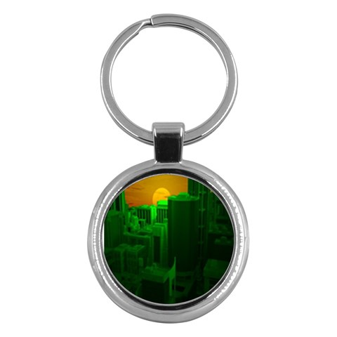 Green Building City Night Key Chains (Round)