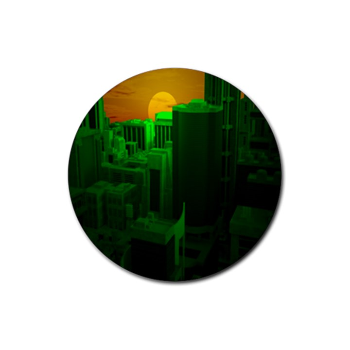 Green Building City Night Rubber Round Coaster (4 pack)