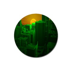 Green Building City Night Magnet 3  (Round)
