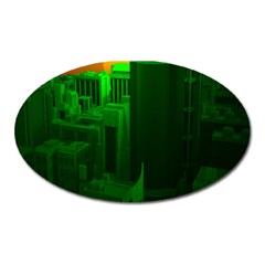 Green Building City Night Oval Magnet