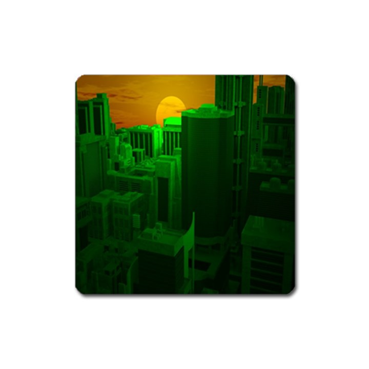 Green Building City Night Square Magnet
