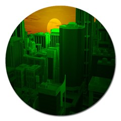 Green Building City Night Magnet 5  (Round)