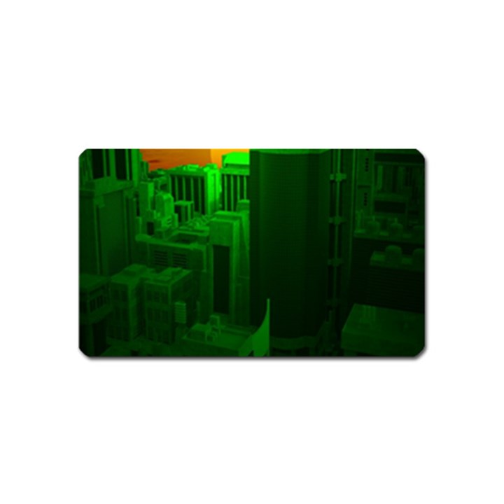 Green Building City Night Magnet (Name Card)