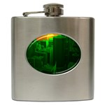 Green Building City Night Hip Flask (6 oz) Front