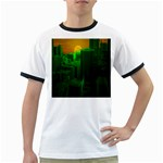 Green Building City Night Ringer T-Shirts Front
