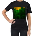 Green Building City Night Women s T-Shirt (Black) (Two Sided) Front