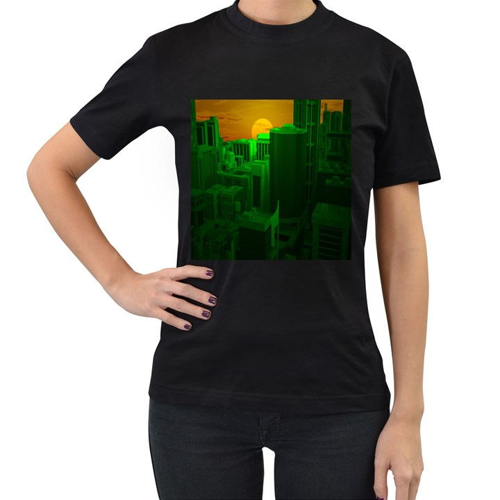 Green Building City Night Women s T-Shirt (Black) (Two Sided)