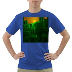 Green Building City Night Dark T-Shirt