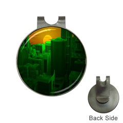 Green Building City Night Hat Clips with Golf Markers