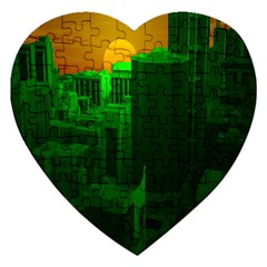 Green Building City Night Jigsaw Puzzle (Heart)