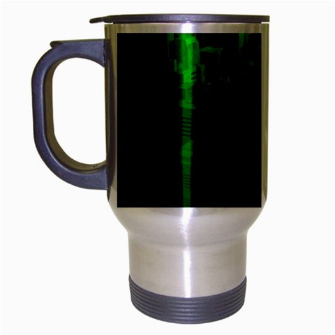 Green Building City Night Travel Mug (Silver Gray)