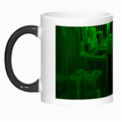Green Building City Night Morph Mugs