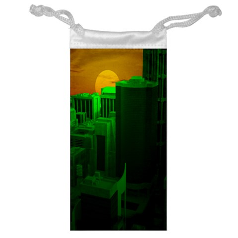 Green Building City Night Jewelry Bags