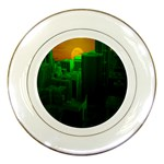Green Building City Night Porcelain Plates Front