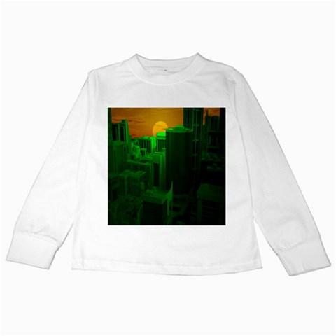 Green Building City Night Kids Long Sleeve T-Shirts