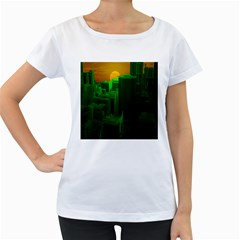 Green Building City Night Women s Loose-Fit T-Shirt (White)