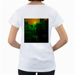 Green Building City Night Women s Loose-Fit T-Shirt (White) Back