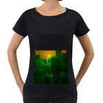Green Building City Night Women s Loose-Fit T-Shirt (Black) Front