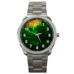 Green Building City Night Sport Metal Watch Front