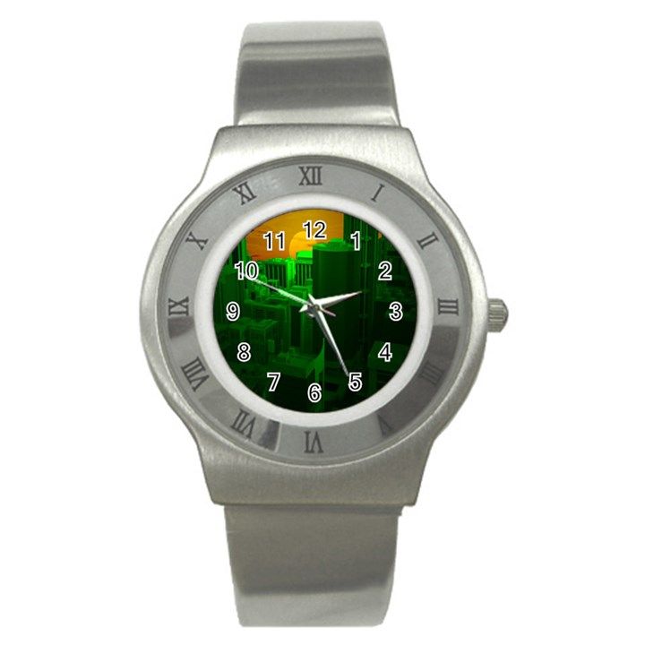 Green Building City Night Stainless Steel Watch