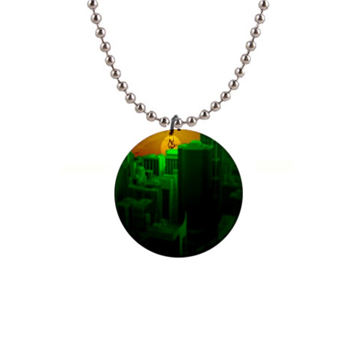 Green Building City Night Button Necklaces