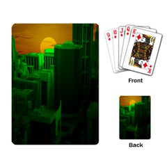 Green Building City Night Playing Card