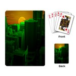 Green Building City Night Playing Card Back