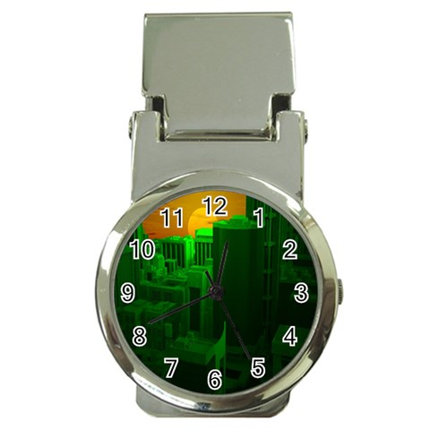 Green Building City Night Money Clip Watches