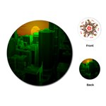 Green Building City Night Playing Cards (Round)  Front