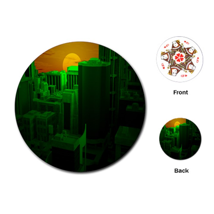 Green Building City Night Playing Cards (Round)