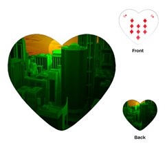 Green Building City Night Playing Cards (Heart)