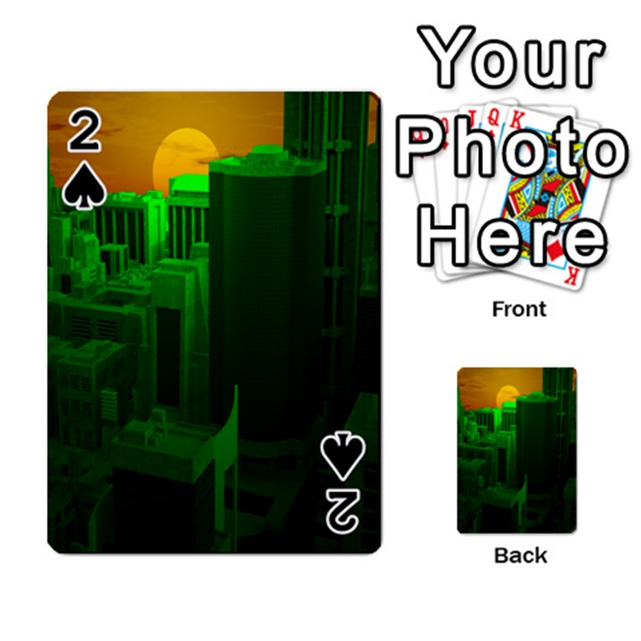 Green Building City Night Playing Cards 54 Designs