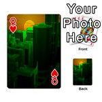 Green Building City Night Playing Cards 54 Designs  Front - HeartQ