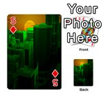 Green Building City Night Playing Cards 54 Designs  Front - Diamond5