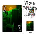 Green Building City Night Playing Cards 54 Designs  Front - Spade7