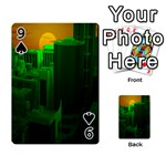 Green Building City Night Playing Cards 54 Designs  Front - Spade9