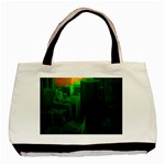 Green Building City Night Basic Tote Bag Front