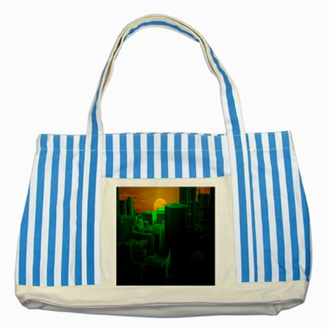 Green Building City Night Striped Blue Tote Bag