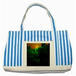 Green Building City Night Striped Blue Tote Bag Front