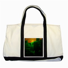 Green Building City Night Two Tone Tote Bag