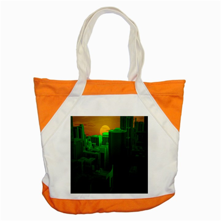 Green Building City Night Accent Tote Bag