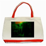 Green Building City Night Classic Tote Bag (Red) Front