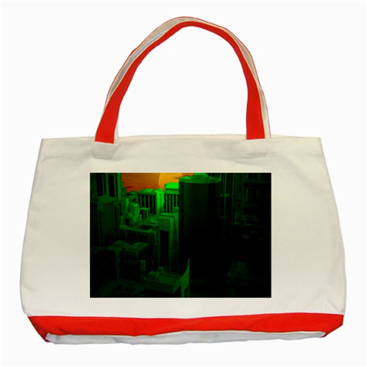 Green Building City Night Classic Tote Bag (Red)