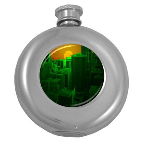 Green Building City Night Round Hip Flask (5 oz)