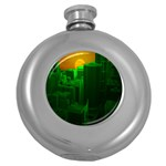 Green Building City Night Round Hip Flask (5 oz) Front