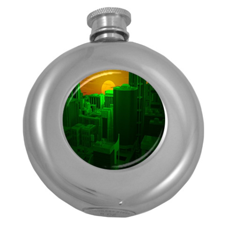 Green Building City Night Round Hip Flask (5 oz)