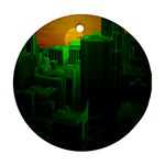 Green Building City Night Round Ornament (Two Sides)  Front