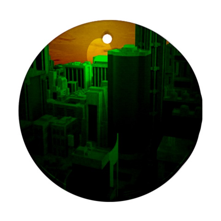 Green Building City Night Round Ornament (Two Sides)