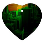 Green Building City Night Heart Ornament (2 Sides) Front