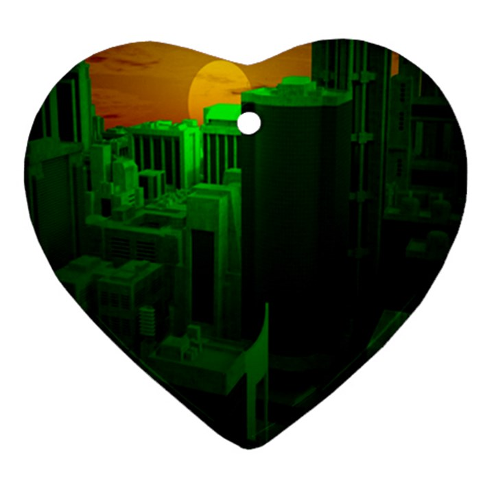 Green Building City Night Heart Ornament (2 Sides)